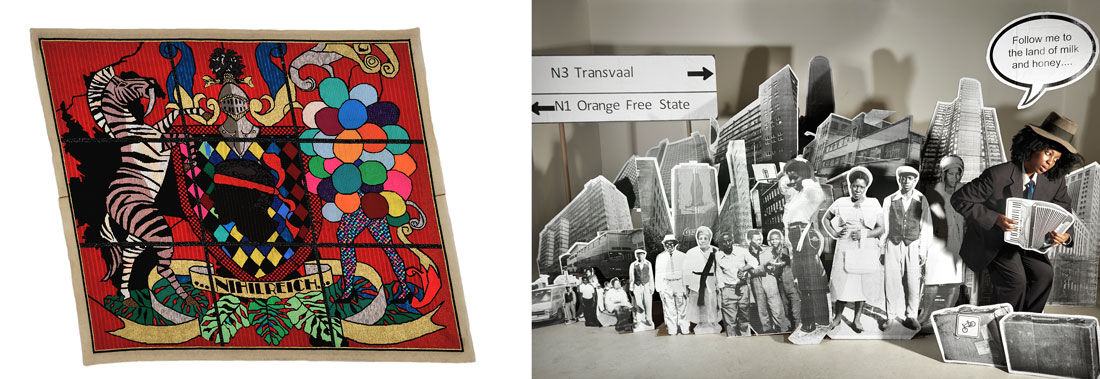 Left: Athi-Patra Ruga, Azania in Waiting, Circa 2008-2009 (Nihil Reich). Image courtesy of WHATIFTHEWORLD and The Armory Show. Right: Lebohang Kganye, the pied piper, 2014. Image courtesy of Afronova and The Armory Show.