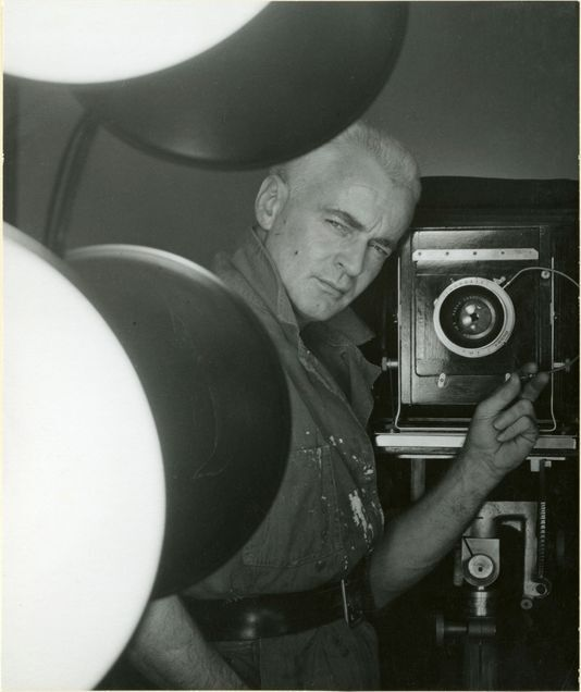 A self-portrait of George Platt Lynes from 1952. Gelatin silver print, 7-5/8 × 9 in. From the Collections of the Kinsey Institute, Indiana University. © Estate of George Platt Lynes.