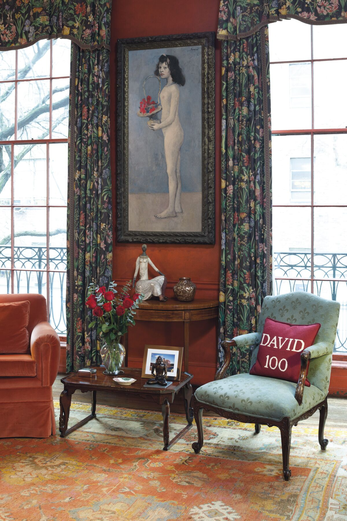 View of Pablo Picasso, Fillette à la corbeille fleurie, 1905, at the Rockefeller's library in their East 65th Street Manhattan townhouse.