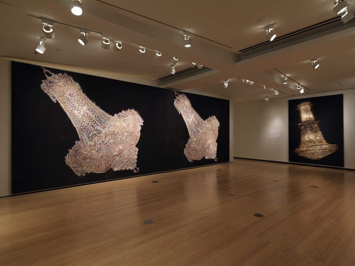 """Kyungah Ham, installation view in """"We Do Not Dream Alone"""" at Asia Society Museum, New York, October 27, 2020–June 27, 2021. Photo by Bruce M. White. Photo courtesy of Asia Society Museum. Courtesy of the artist and Kukje Gallery."""