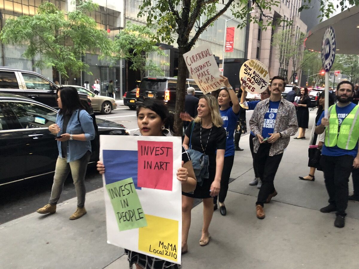 """MoMA Local 2110's """"Party on the Pavement"""" protest during the Museum of Modern Art's annual gala fundraiser """"Party in the Garden,"""" May 31, 2018. Courtesy of MoMA Local 2110."""