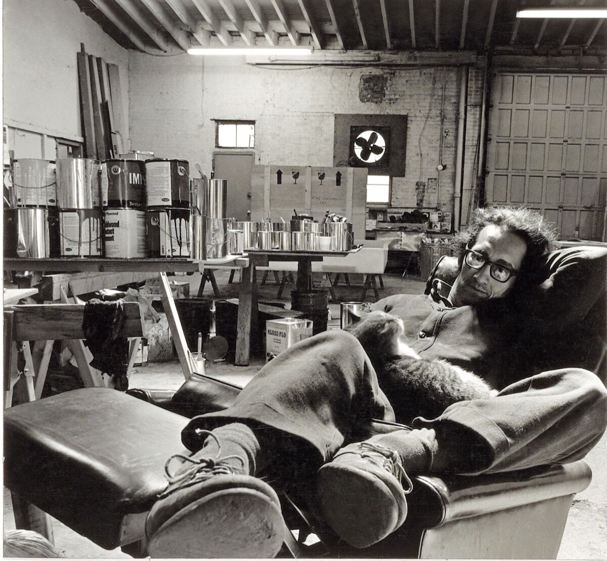 Frank Stella with Marisol. Image from Artful Cats  by Mary Savig, published by the Smithsonian's Archives of American Art, 2019. Courtesy of the publishers.