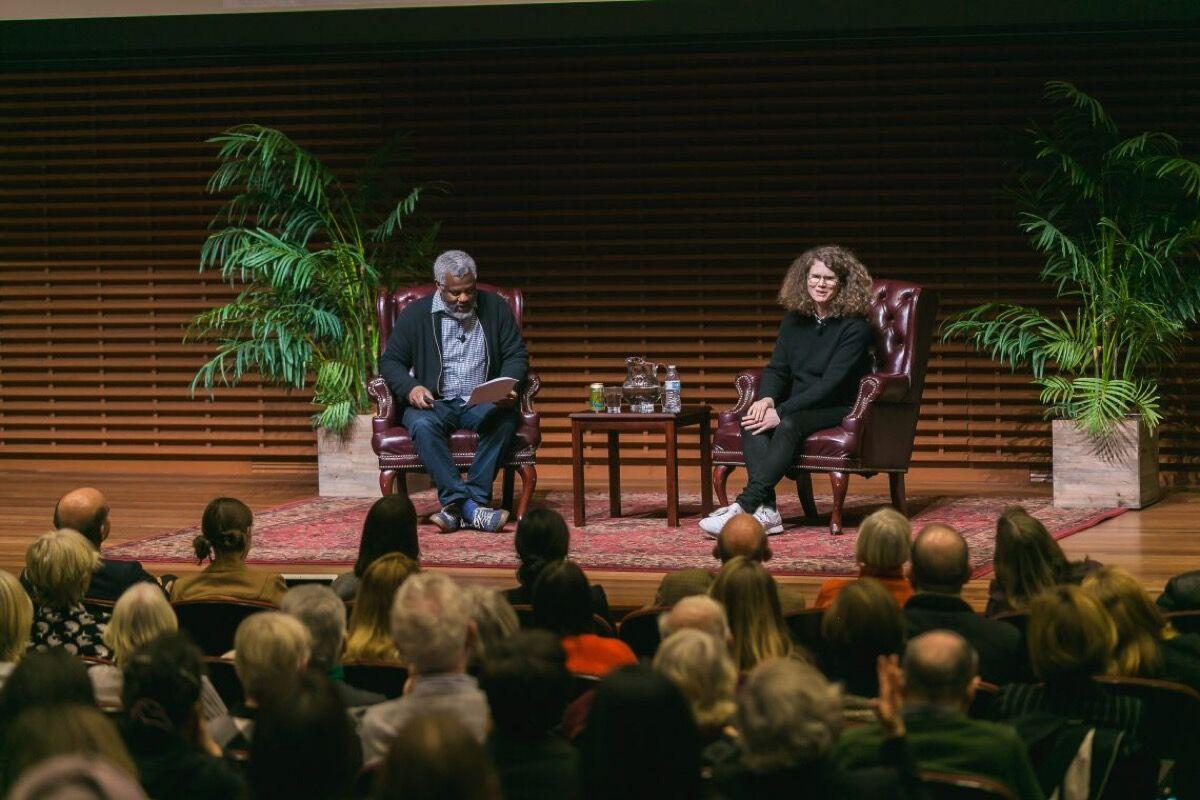 Dana Schutz in conversation with Hamza Walker for The Komal Shah and Gaurav Garg Artist Conversation Series at Stanford University, 2019. Photo by Drew Altizer. Courtesy of Stanford University and Komal Shah.