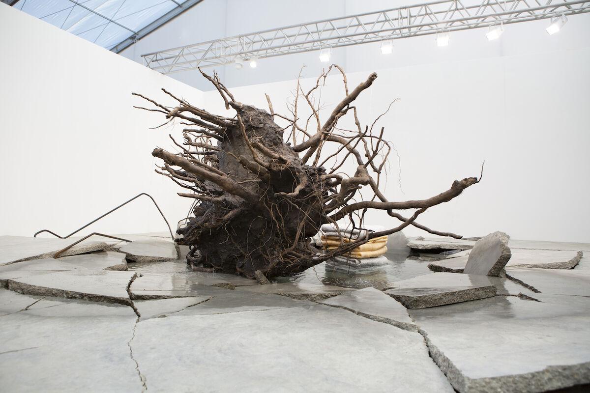 Installation view of Tatiana Trouvé, The Shaman, 2018, at kamel mennour's booth at Frieze London, 2018. © ADAGP Tatiana Trouvé. Courtesy the artist and kamel mennour, Paris/London.