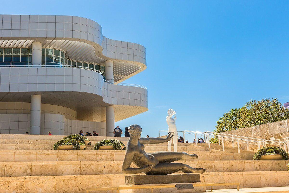 Entrance to the J. Paul Getty Museum in Los Angeles. Photo by Thaddeus Zajdowicz via Wikimedia Commons.