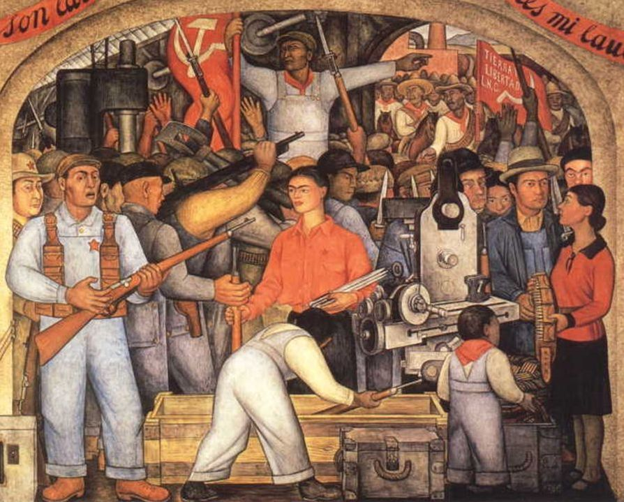 Diego Rivera, In the Arsenal, 1928. Image via Wikimedia Commons.