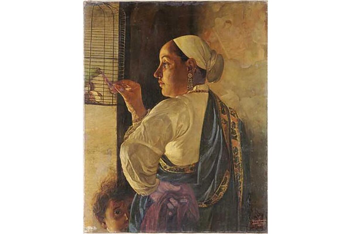 Pestonji Bomanji, Feeding the Parrot, 1882. Image via Wikimedia Commons