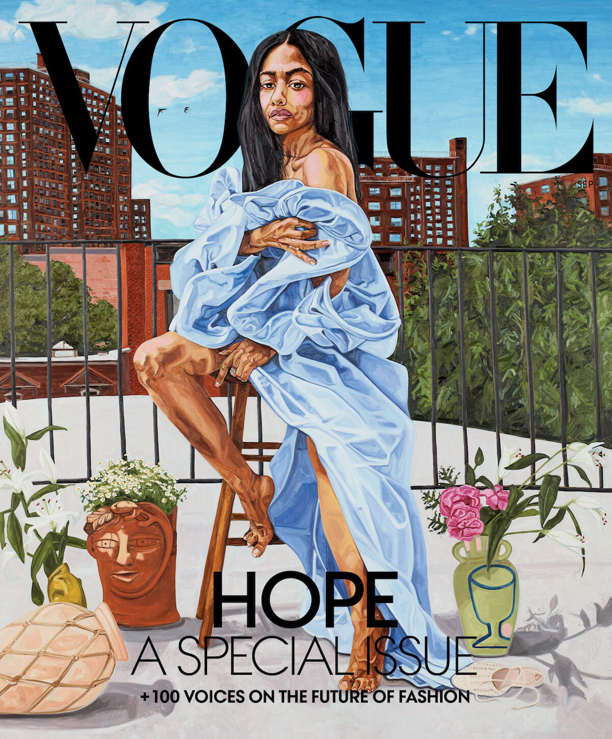 The cover of Vogue's September issue featuring a new painting by Jordan Casteel. Courtesy Vogue.