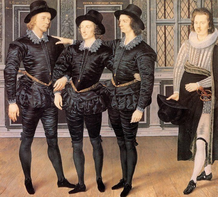 Isaac Oliver, The Three Brothers Browne, 1598. Image via Wikimedia Commons.