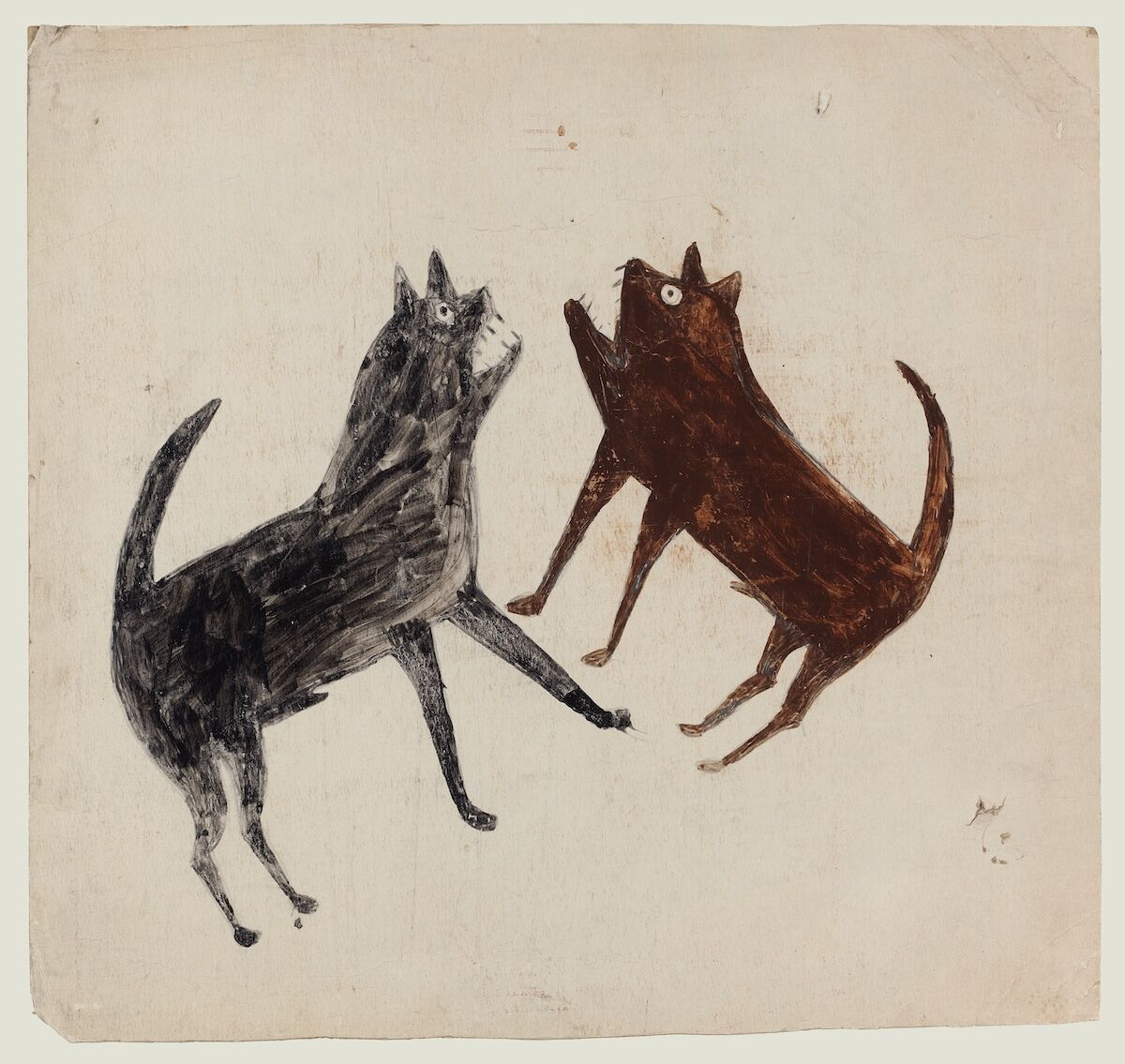 Bill Traylor, Fighting Dogs, 1939–42, tempera and graphite on card, est. $50,000–80,000. Courtesy Christie's.
