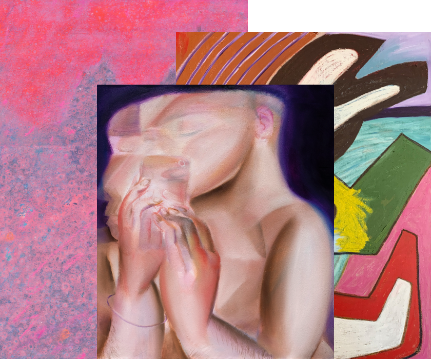 From left to right: Elizabeth Magill, Flush, 2021. Courtesy of Kerlin Gallery; Alvin Ong, Mood #52, 2021. Courtesy of Yavuz Gallery; Hayal Pozanti, Walktail, 2021. Courtesy of Jessica Silverman.