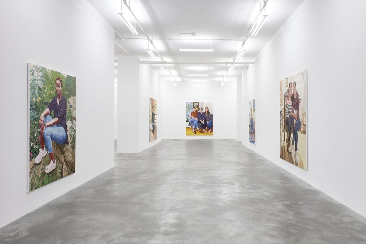 """Installation view of """"Jordan Casteel: The Practice of Freedom,"""" at Casey Kaplan. Photo by Jason Wyche. © Jordan Casteel. Courtesy of the artist and Casey Kaplan, New York."""