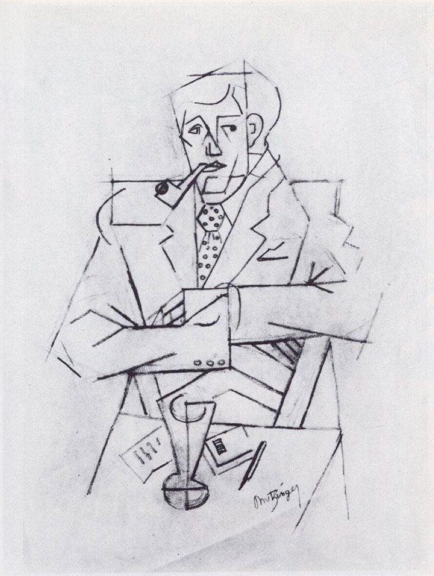 Jean Metzinger, Etude pour le portrait de Guillaume Apollinaire, 1911. Photo via Wikimedia Commons.