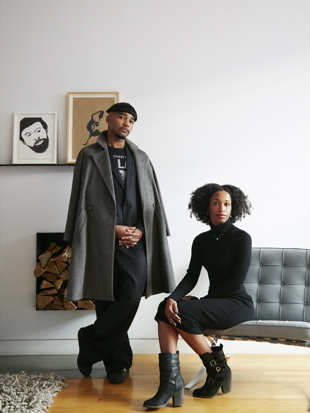 Portrait of Jacolby Satterwhite and Tschabalala Self at the home of Corey Baylor by Emily Johnston for Artsy.