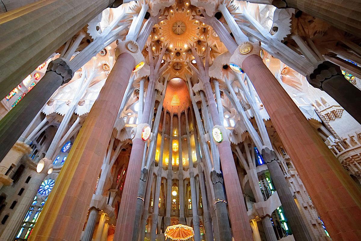 Interior view of La Sagrada Familia, Barcelona. Photo by Eleonora Abasi. Courtesy of Eleonora Abasi.