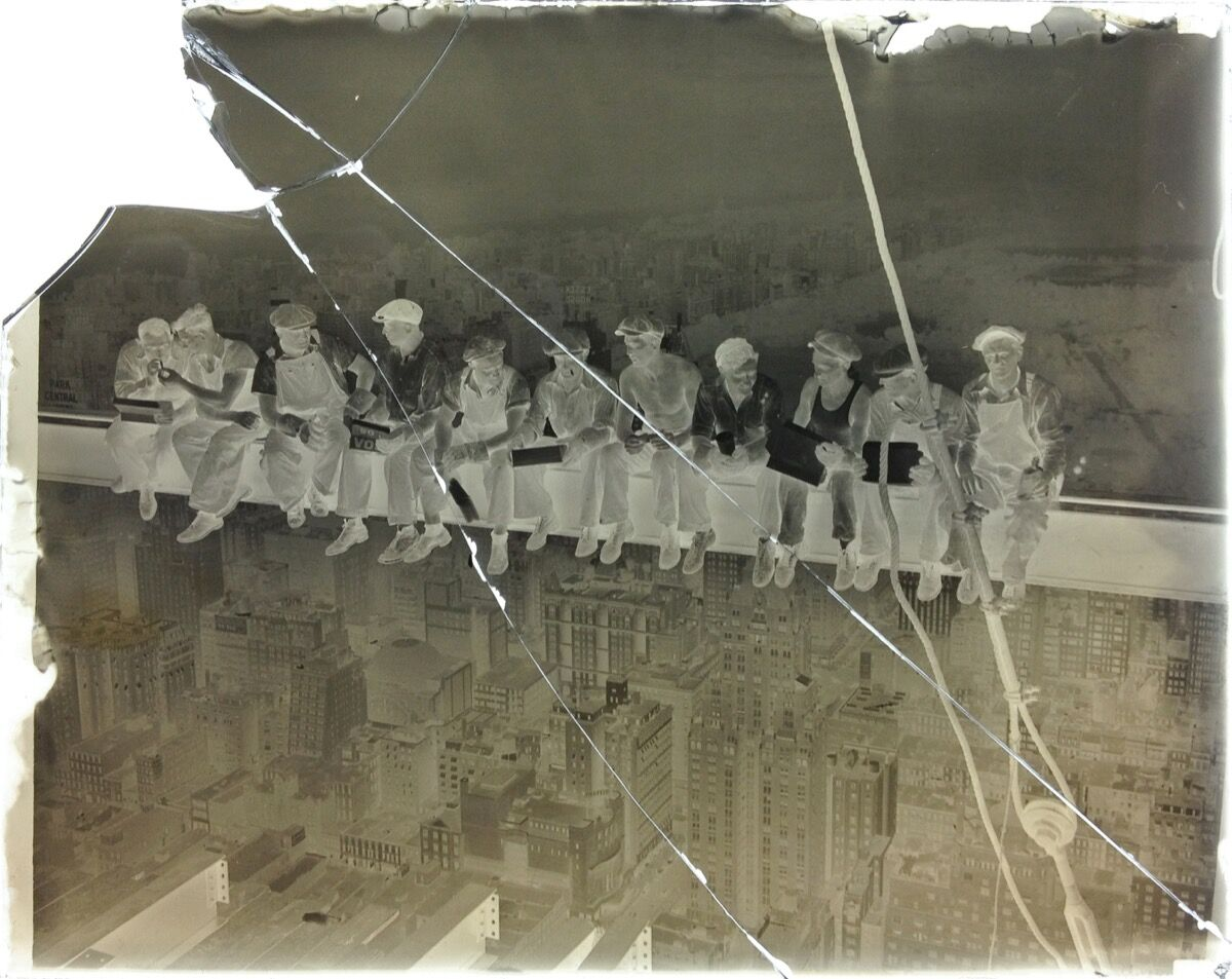 The original cracked glass negative of Lunch atop a Skyscraper.
