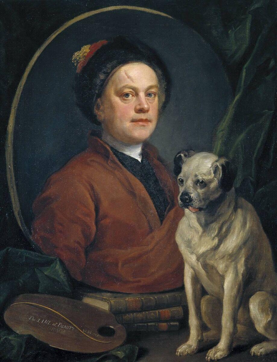 William Hogarth, The Painter and his Pug, 1475. Photo © Tate, via Wikimedia Commons.
