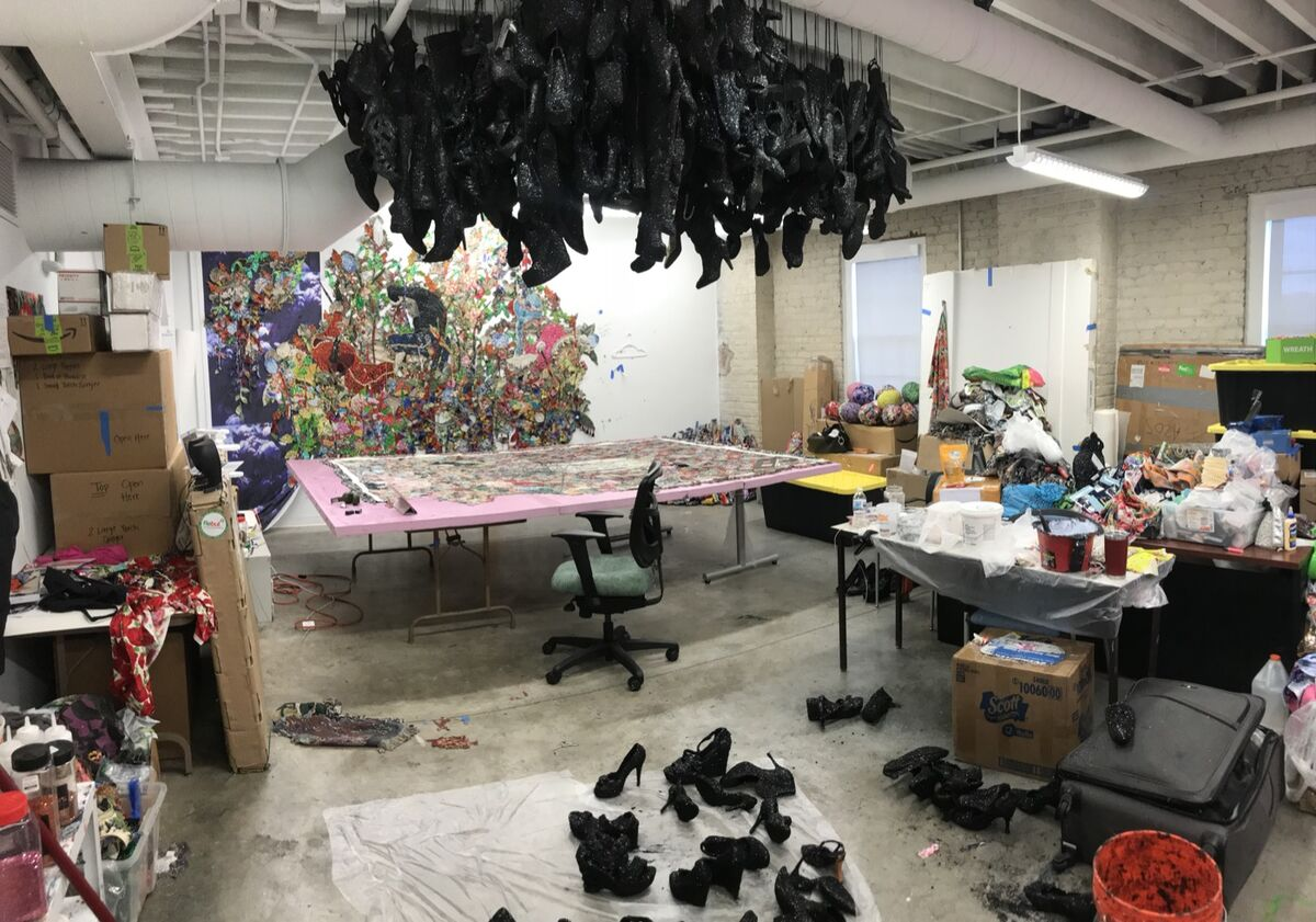 View of Ebony G. Patterson's studio in Lexington, Kentucky. Courtesy of the artist.