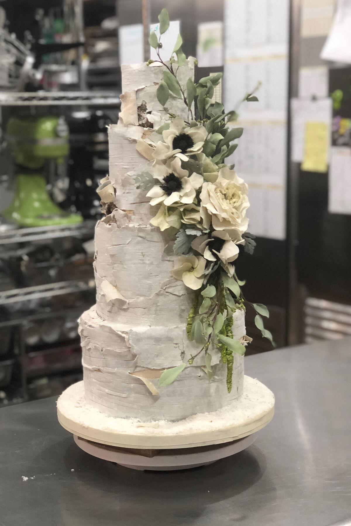 Birch tree wedding cake by Madison Lee's Cakes. Courtesy of Madison Lee's Cakes.