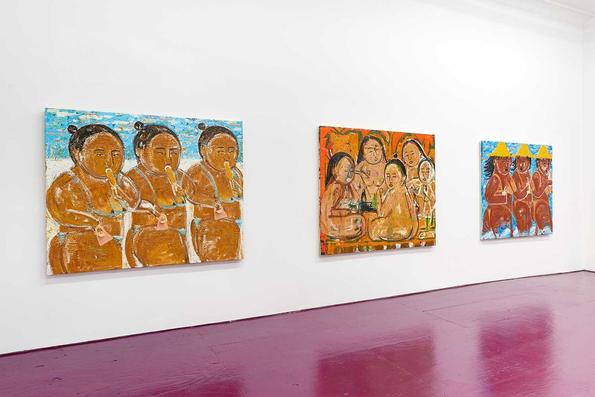 """Monica Kim Garza, installation view of """"Baguettes"""" at The Hole, 2021. Courtesy of The Hole, New York."""
