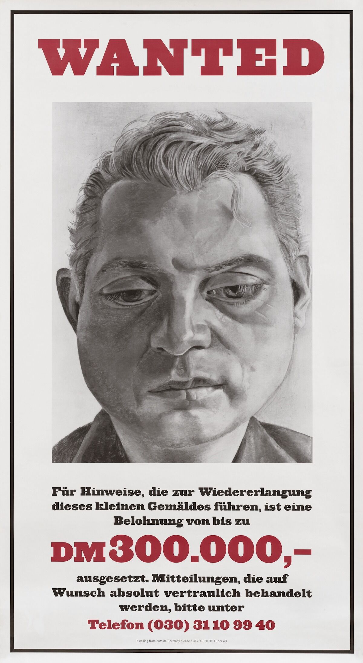A poster offering a reward for the return of a Lucian Freud painting of Francis Bacon that was stolen in Berlin in 1988. Via New York Studio School.