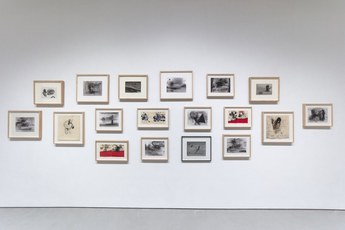 "Installation view of David Lynch, ""Squeaky Flies in the Mud,"" at Sperone Westwater, 2019. Courtesy of Sperone Westwater, New York."