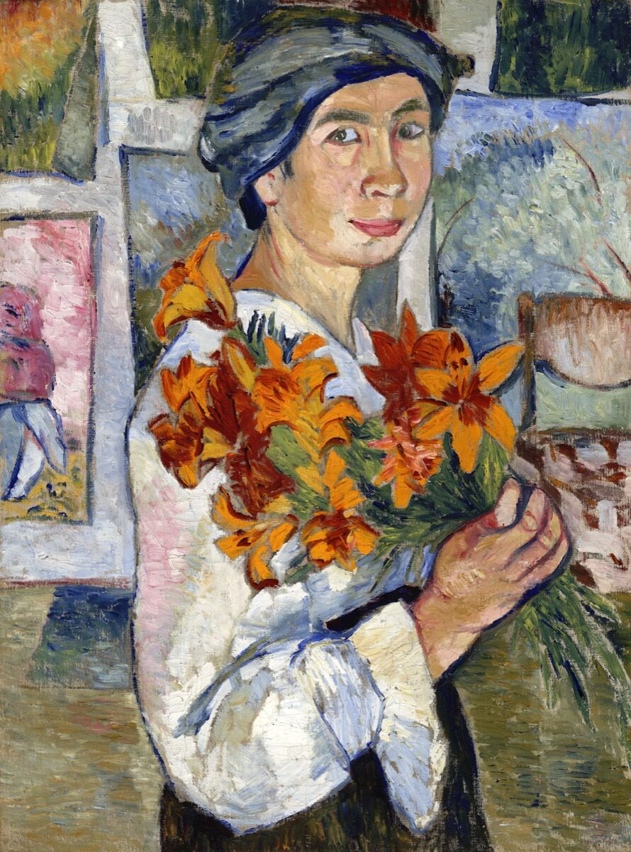 Natalia Goncharova, Self-Portrait with Yellow Lilies, 1907-1908. © ADAGP, Paris and DACS, London 2019. State Tretyakov Gallery, Moscow.  Courtesy of the Tate.