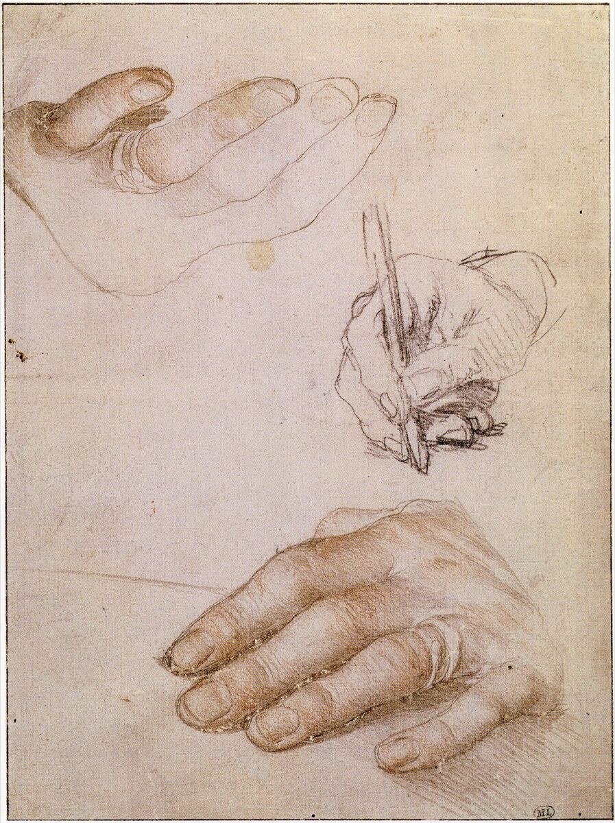 Hans Holbein, Study of the hands of Erasmus, c. 1523. Image via Wikimedia Commons.