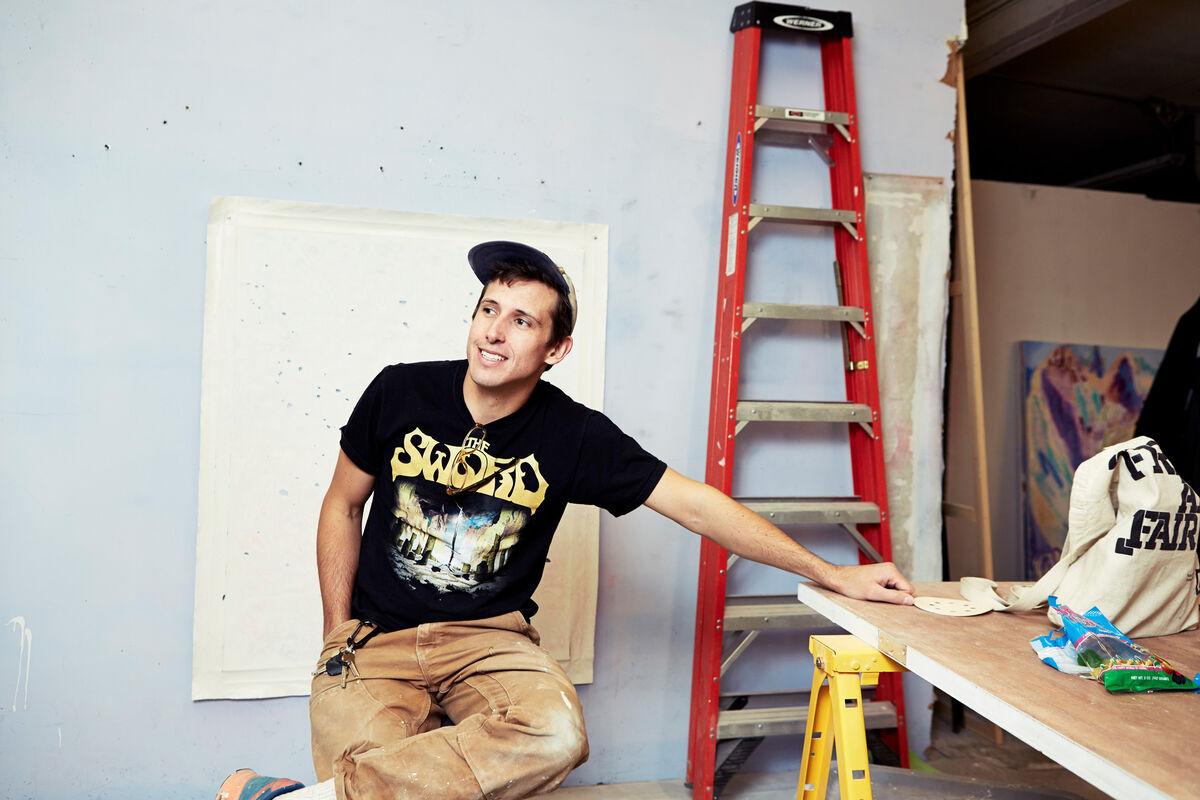 Portrait of Kadar Brock in his studio by Alex John Beck for Artsy.