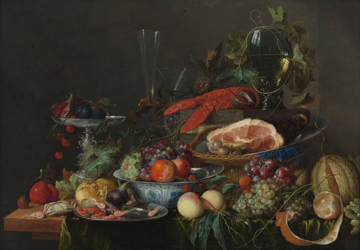 Jan davidsz de heem still life with ham lobster and fruit c