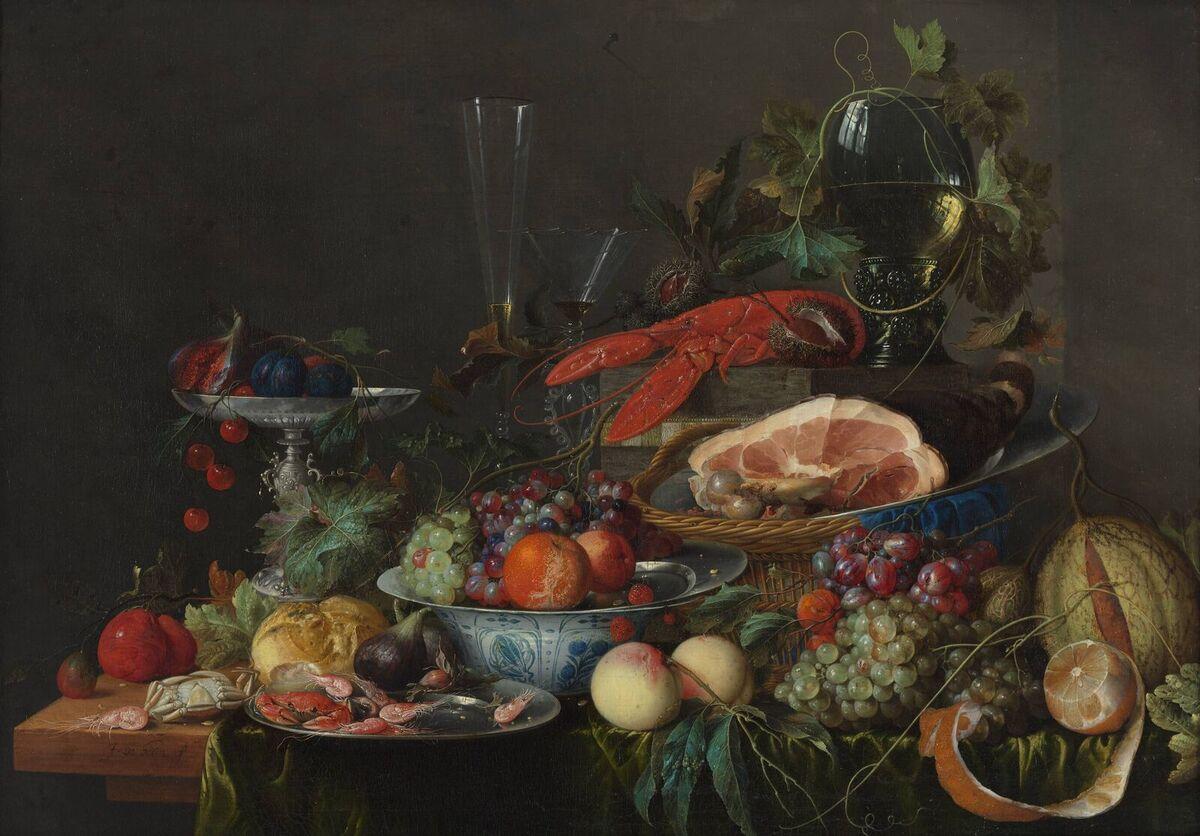 Jan Davidsz de Heem, Still Life with Ham, Lobster and Fruit, c. 1653. Photo via Wikimedia Commons.