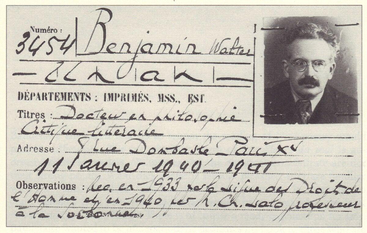 Walter Benjamin's membership card to the Bibliothèque nationale de France, 1940.