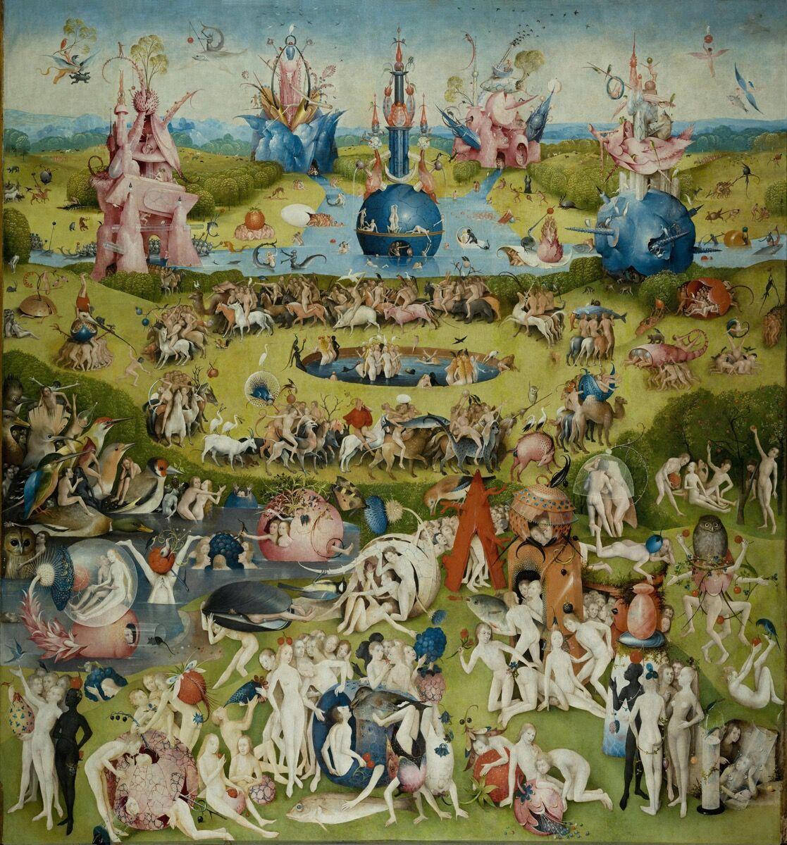 Panel central de Hieronymus Bosch, El jardín de las delicias, 1490-1500.  Imagen vía Wikimedia Commons.