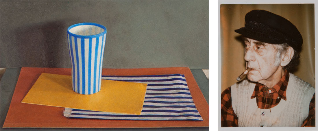 """Lucy Mackenzie, Striped Cup and Paper Bag, 2012. Image courtesy of Nancy Hoffman Gallery; Andy Warhol, """"Man Ray"""" 05.08416, 1973. Image courtesy of Scott White Contemporary Art."""