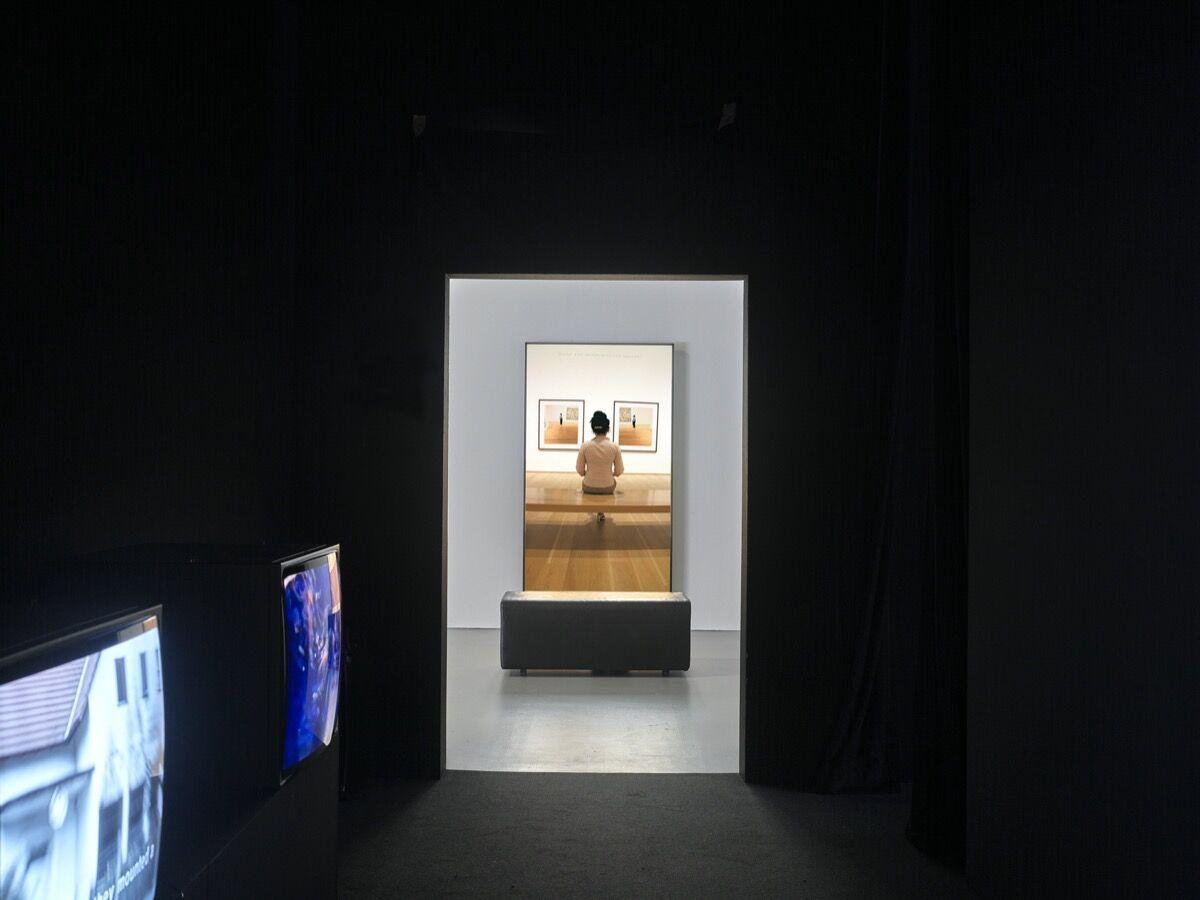 """Hito Steyerl, installation view of Guards, 2012, in """"I Will Survive"""" at Kunstsammlung Nordrhein-Westfalen, 2020. © VG Bild-Kunst, Bonn, 2020. Photo by Achim Kukulies. Courtesy of Kunstsammlung Nordrhein-Westfalen."""