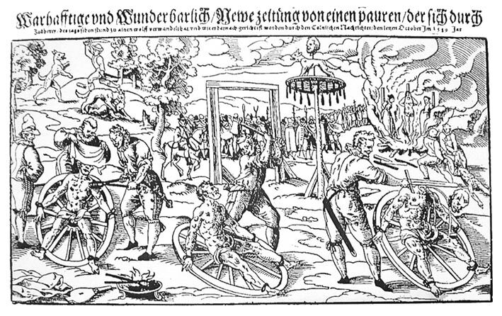 Woodcut depicting the execution of Peter Stumpf in Cologne in 1589. Photo via Wikimedia Commons.