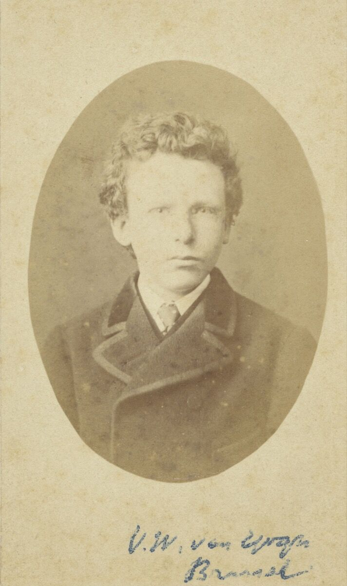 This image was previously identified as Vincent van Gogh, aged 13, but research now recognizes this image as Theo van Gogh, aged 15. Photo by B. Schwarz, Brussels. Courtesy of the Van Gogh Museum, Amsterdam (Vincent van Gogh Foundation).