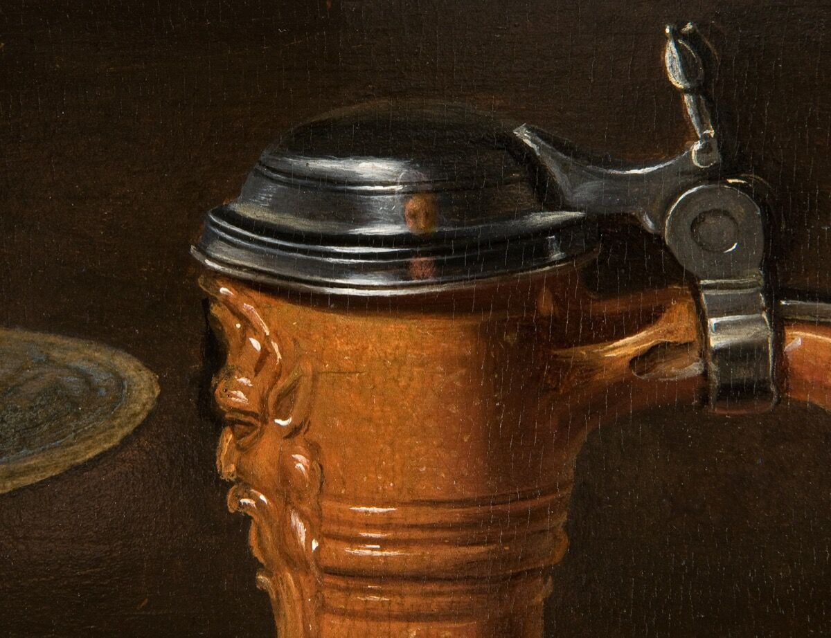 Detail of Clara Peeters, Still Life with Cheeses, Almonds and Pretzels, ca. 1615. Courtesy of the Mauritshuis, The Hague.