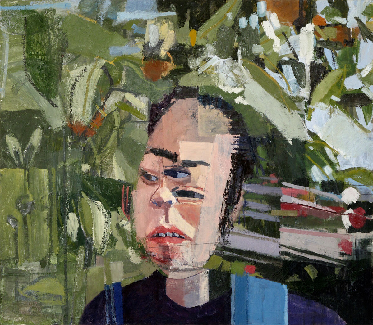 Left-handed paintings. Jonas Wood, Shio with Three Eyes, 2002. © Jonas Wood. Courtesy of the artist.
