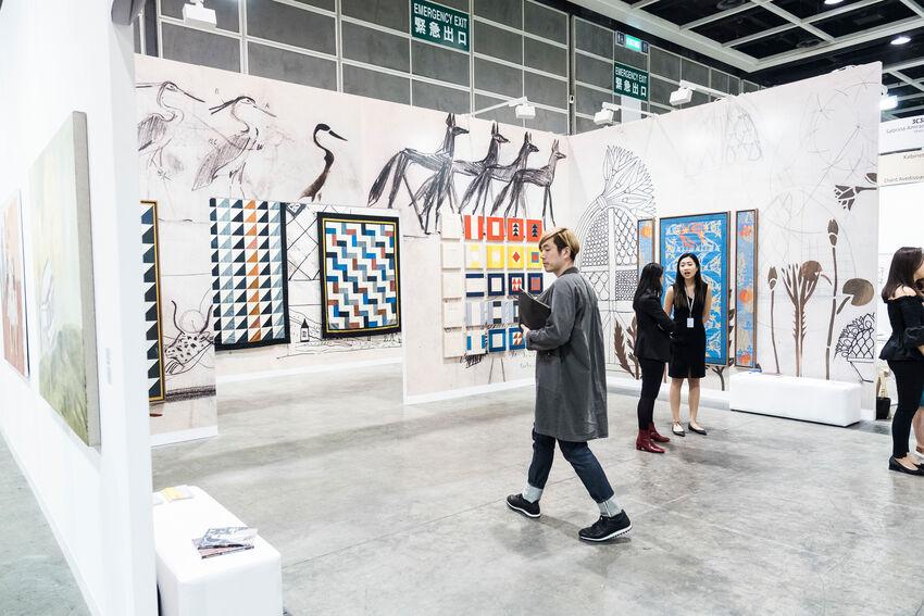 Installation view of Sabrina Amrani's booth at Art Basel in Hong Kong, 2018. © Art Basel. Courtesy of Art Basel.