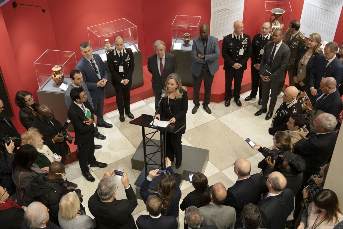 "Opening ceremony of the exhibition ""Recovered Treasures: The Art of Saving Art,"" organized by the Permanent Mission of Italy to the United Nations. Photo by Evan Schneider."