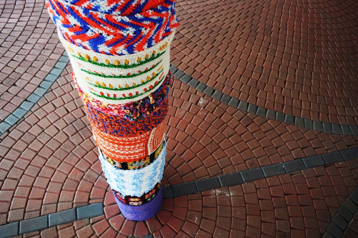 Yarn bombing by Fantastic Fibers Miami. Courtesy of the Museum of Contemporary Art, North Miami.