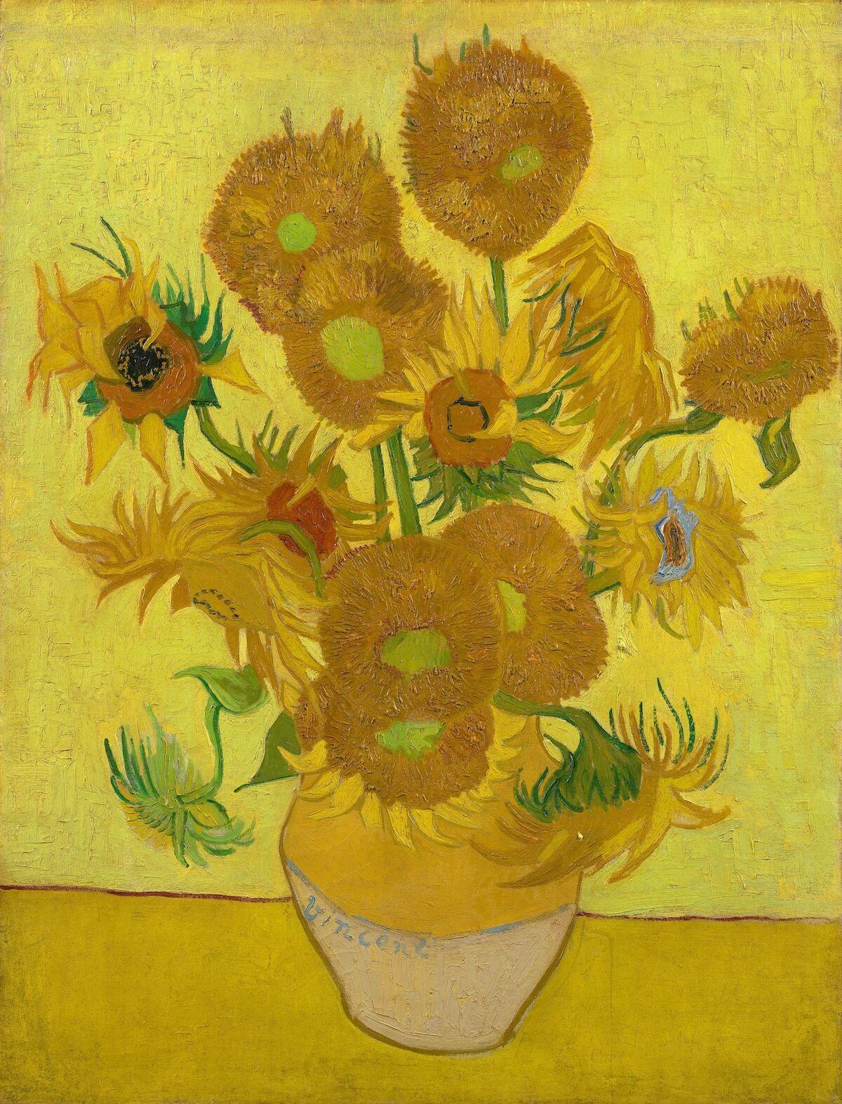 Vincent van Gogh, Sunflowers, 1889. Courtesy Van Gogh Museum, Amsterdam, via Wikimedia Commons.
