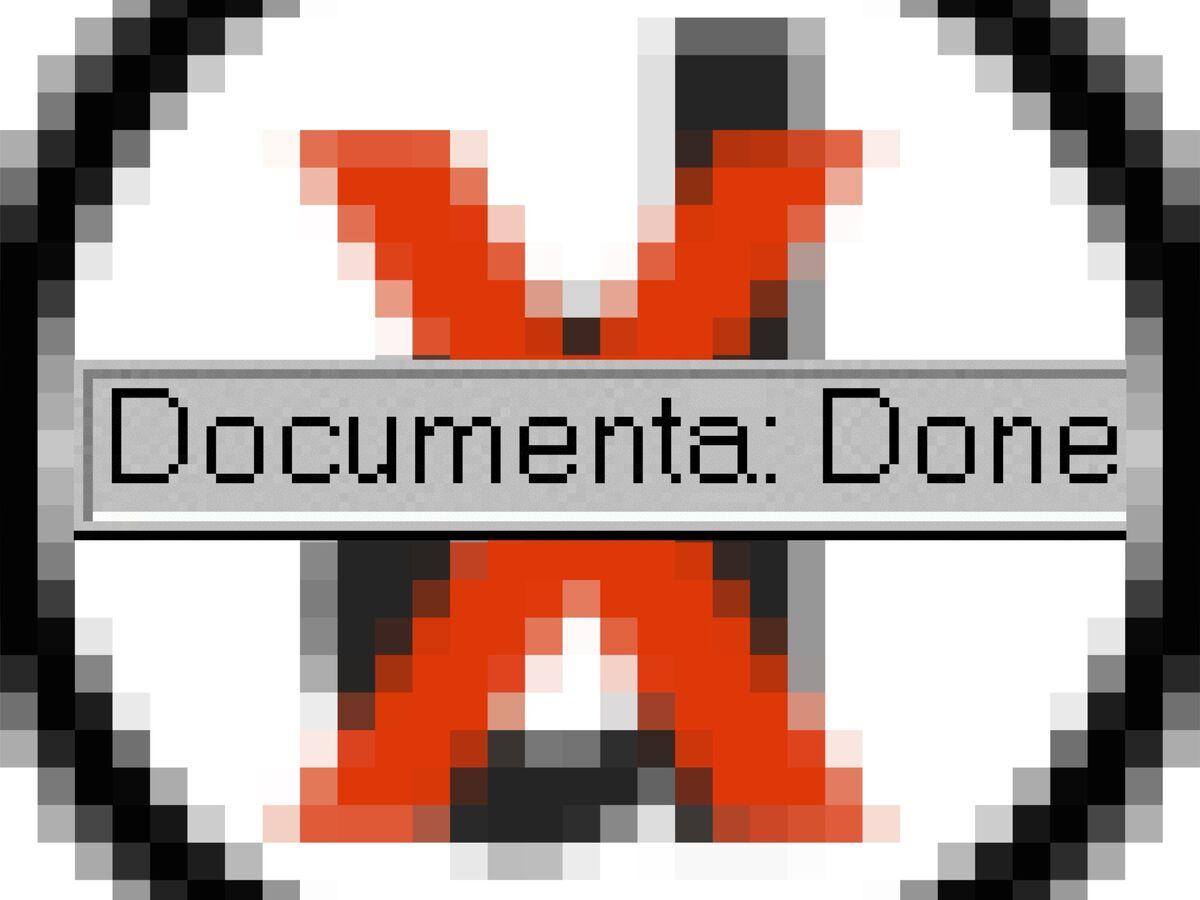 Vuk Ćosić, modified documenta logo part of Documenta Done, 1997. Courtesy of the New Museum.