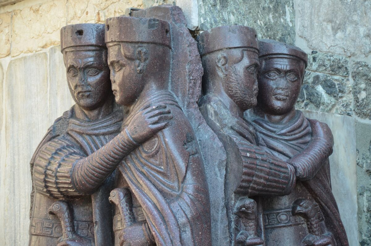 The Four Tetrarchs  , 4th century B.C.E. Photo by Carole Raddato via Wikimedia Commons.