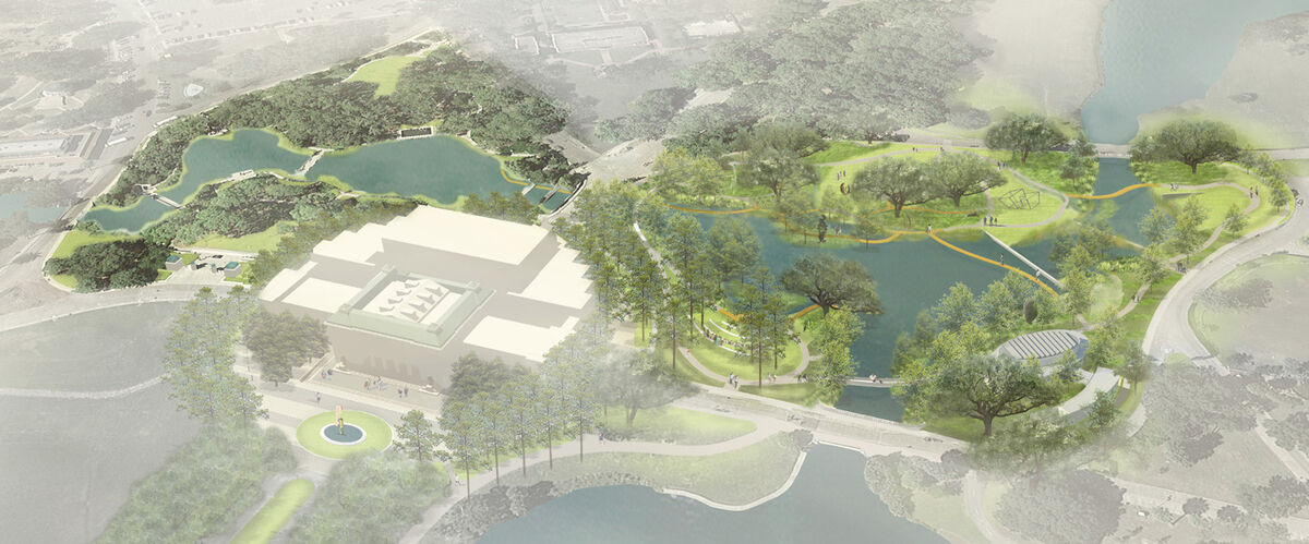Rendering of the expanded Sydney and Walda Besthoff Sculpture Garden at the New Orleans Museum of Art. Courtesy of the New Orleans Museum of A