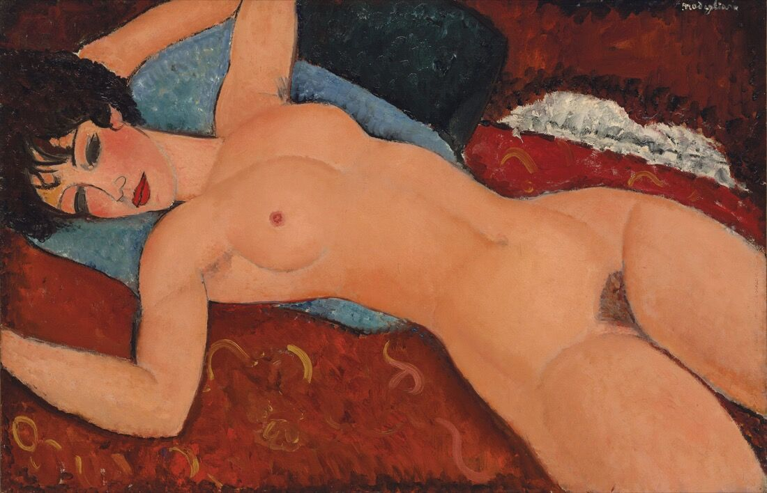 Amedeo Modigliani, Nu couché, 1917-18. Price Realized:$170,405,000.Courtesy of Christie's Images ltd. 2015.