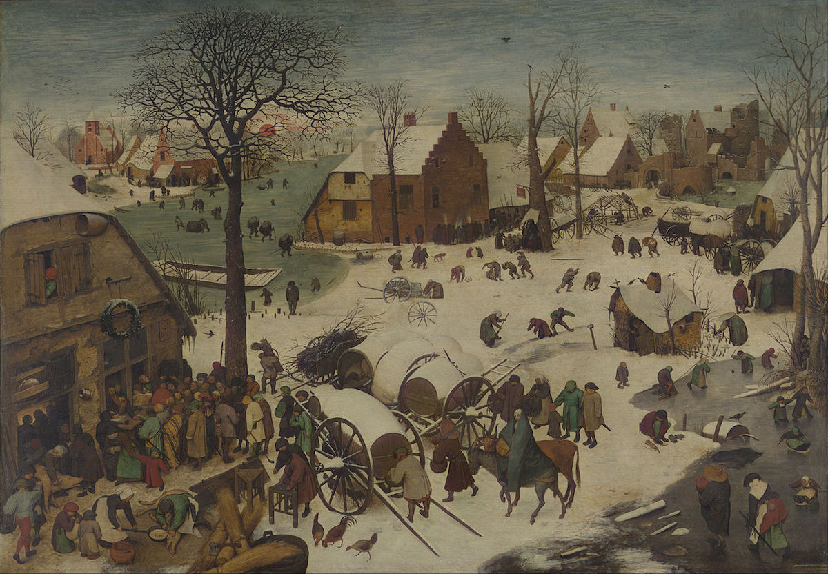 Pieter Bruegel the Elder, The Numbering at Bethlehem, 1566, Royal Museums of Fine Arts of Belgium, Brussels. Image via Wikimedia Commons.