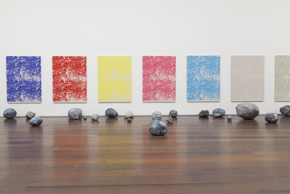 """Sarah Sze,Installation view, """"Stone Series,"""" 2013-2015 at Victoria Miro, Wharf Road.Courtesy the Artist and Victoria Miro, London. © Sarah Sze."""