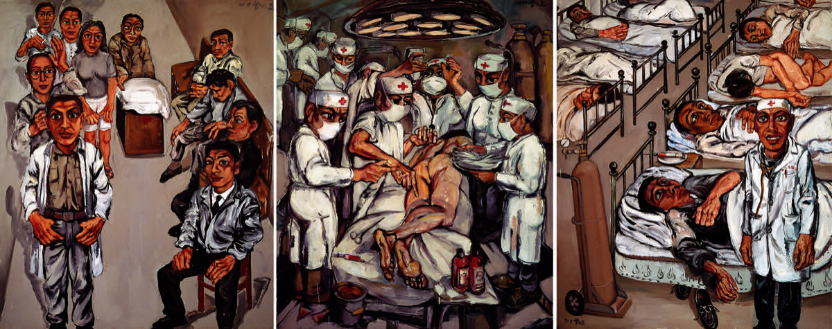 Zeng Fanzhi,Hospital Triptych No. 1, 1991. Image courtesy of Ullens Center for Contemporary Art.